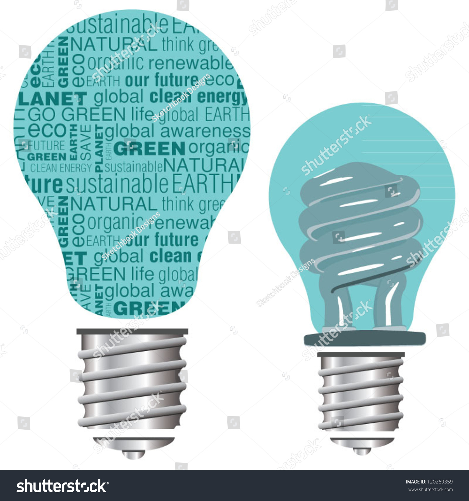 Eco Friendly Green And Blue Vector Light Bulbs 120269359 Shutterstock