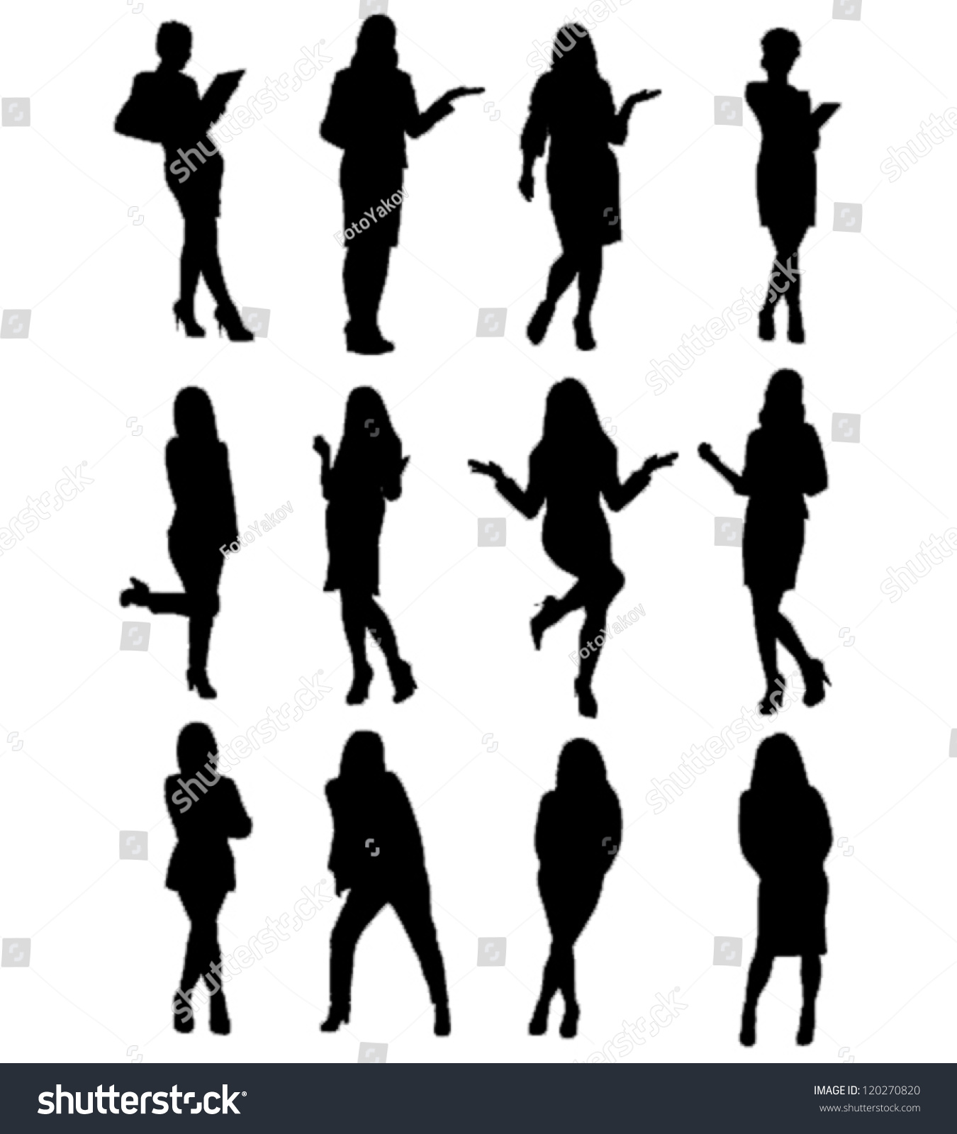 Business Woman Silhouettesvector Stock Vector 120270820 ...