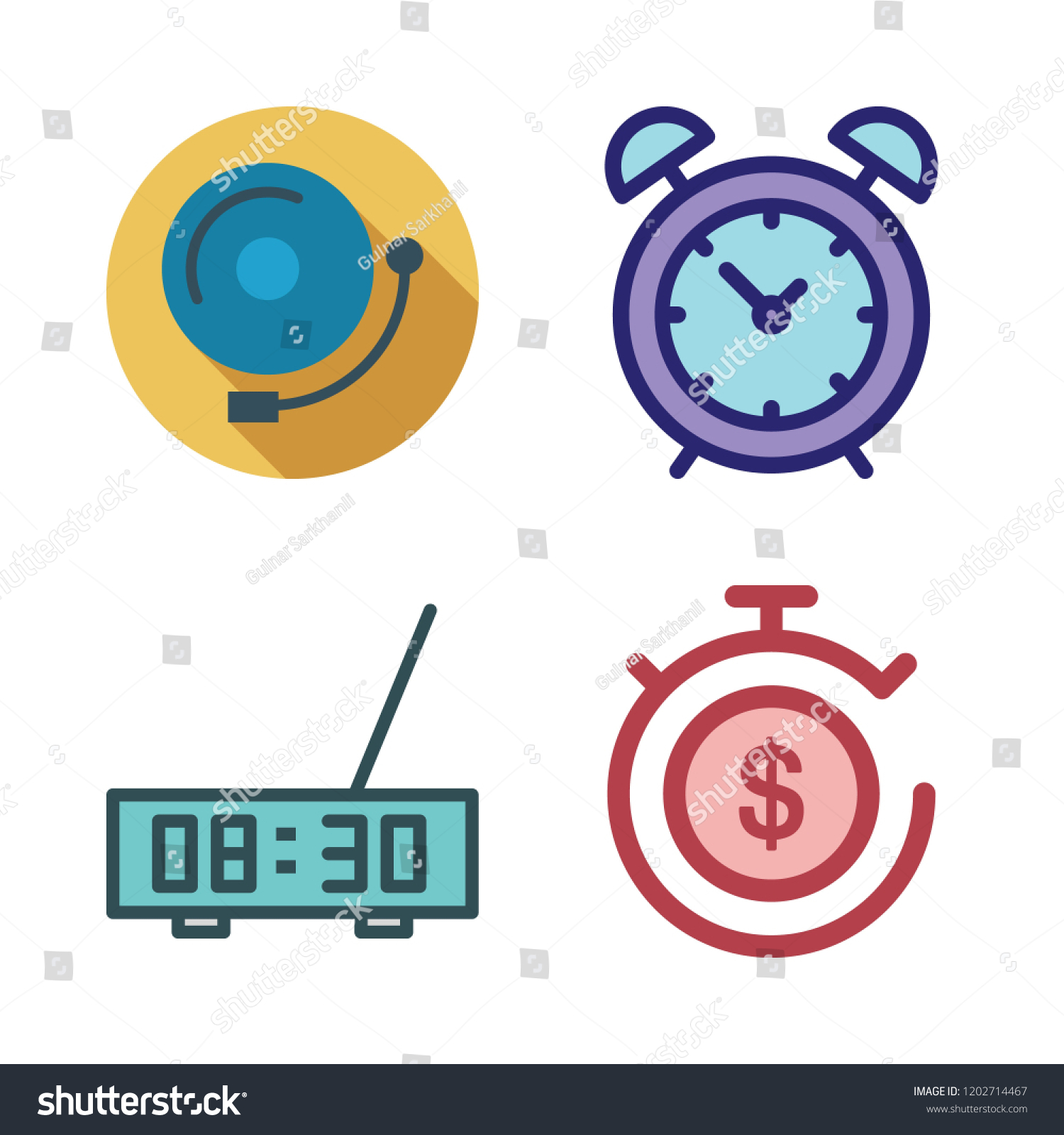 Minute Icon Set Vector Set About Timer Alarm Bell And Alarm Clock Icons Set