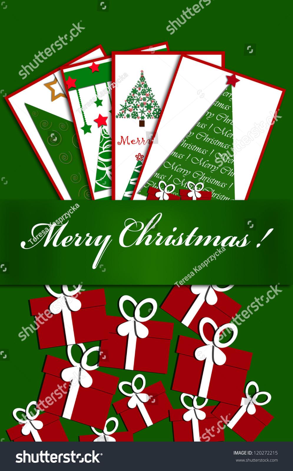 Christmas Card Design Greeting Postcards Gift Stock Illustration
