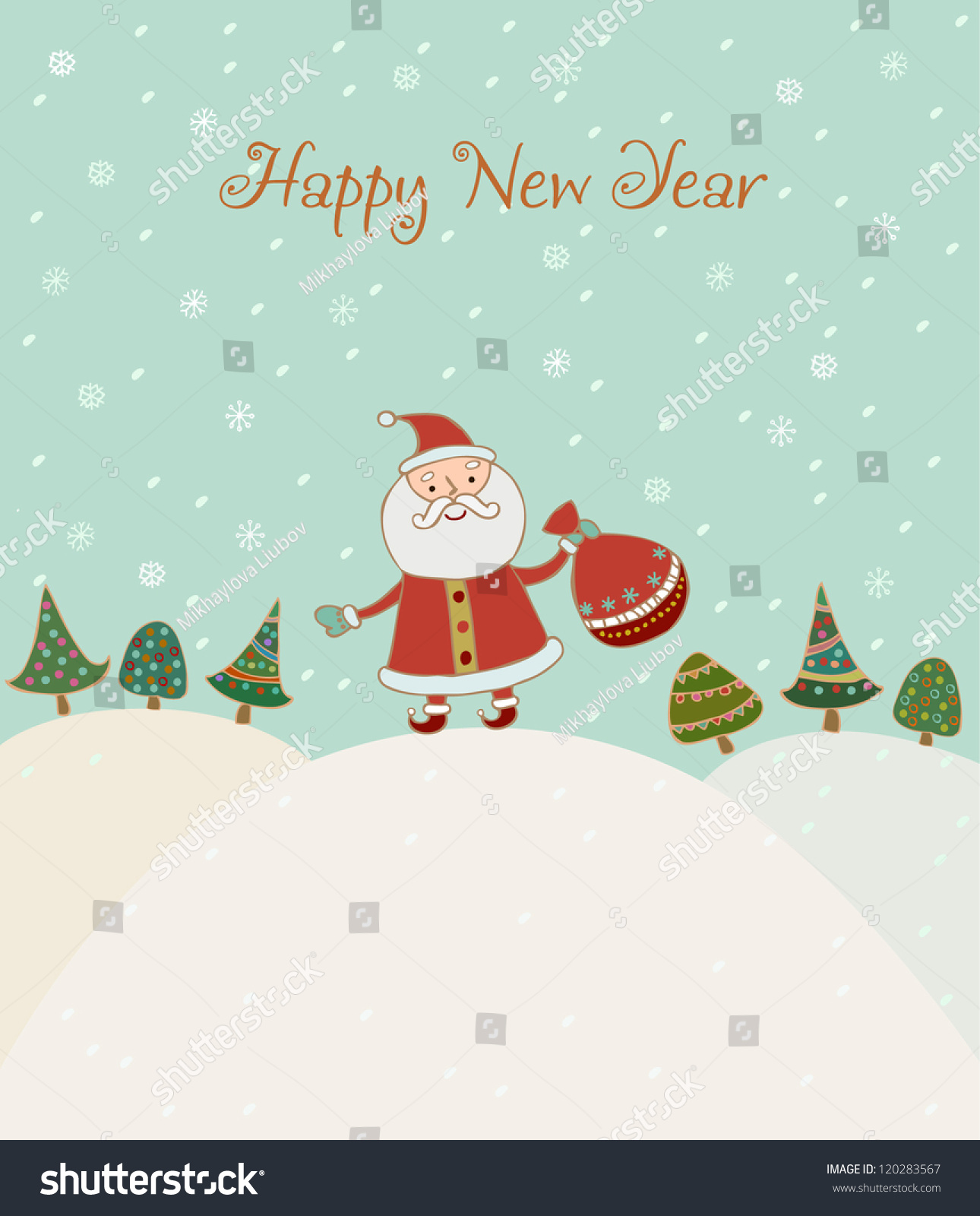 Illustrated Hand Drawn New Year Greeting Card With Sample Text