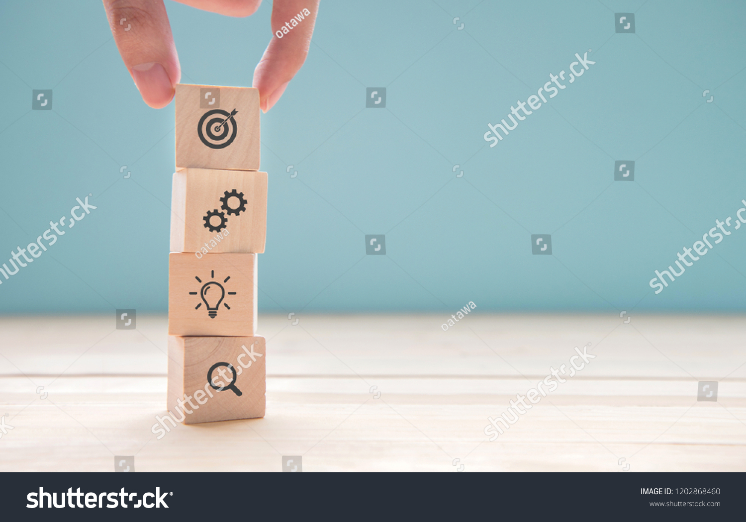 Businessman hand arranging wood block with icon business strategy and Action plan, copy space. #1202868460