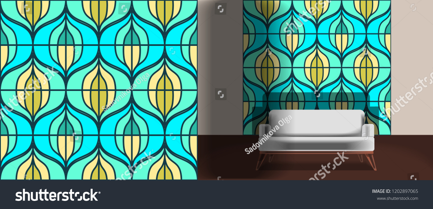 Seamless retro pattern in the style of the sixties. Art deco vintage wallpaper or fabric. Retro interior #1202897065