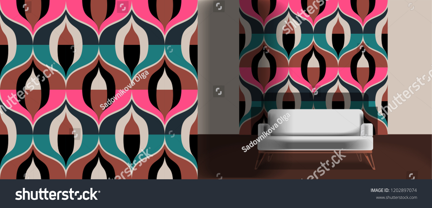 Seamless retro pattern in the style of the sixties. Art deco vintage wallpaper or fabric. Retro interior #1202897074