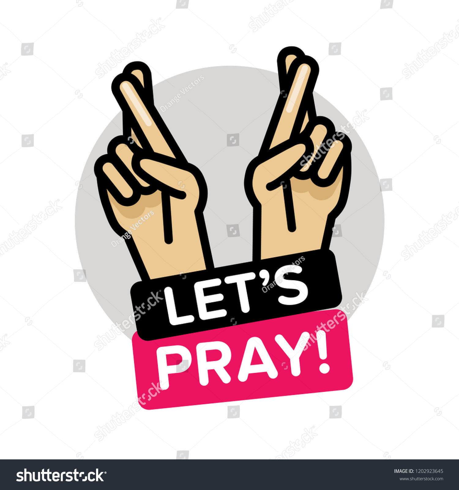 Let's Pray Fingers Crossed Vector Illustration