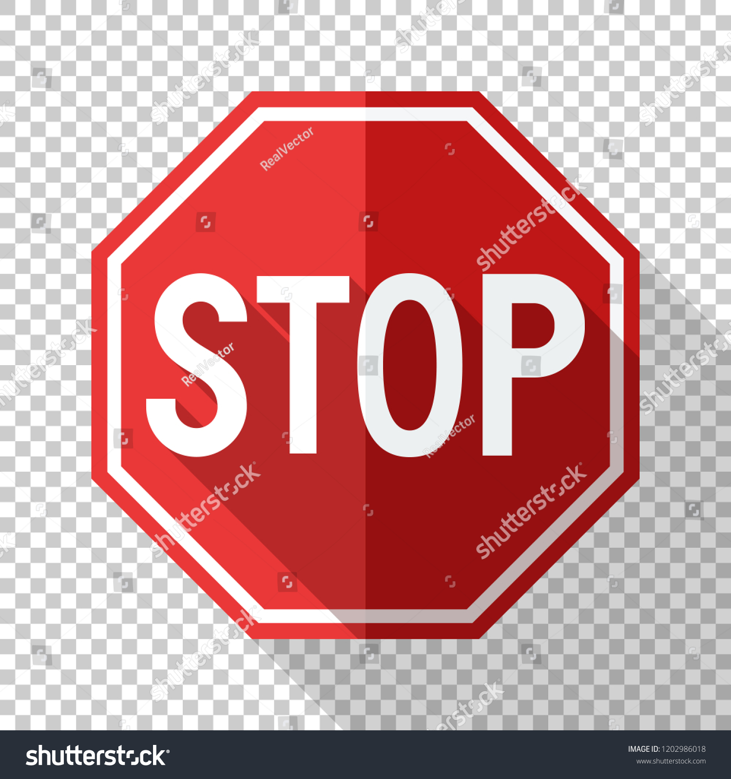 Stop Sign Flat Style Long Shadow Stock Vector (Royalty Free