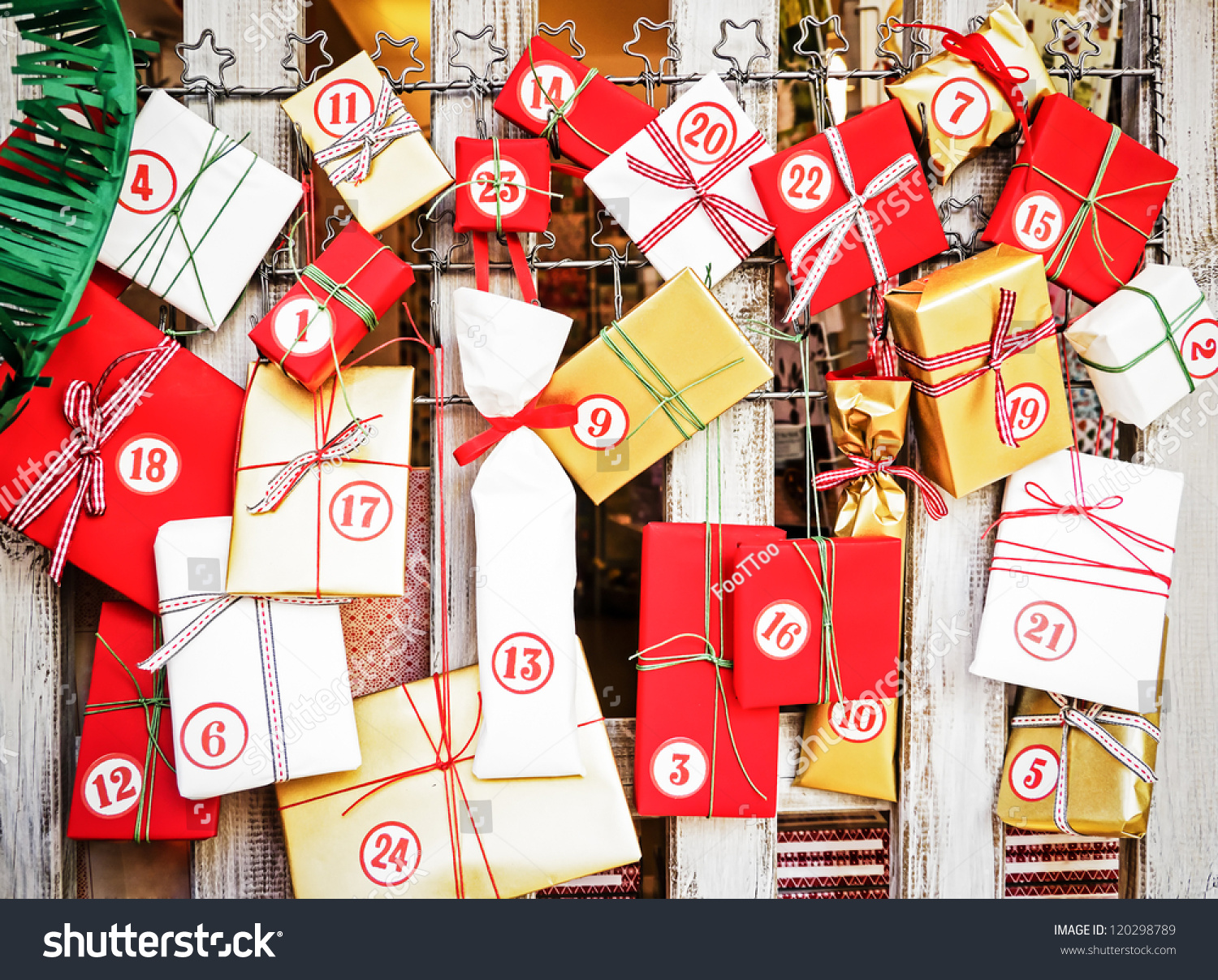 nice advent calendar with small gifts stock photo. Black Bedroom Furniture Sets. Home Design Ideas