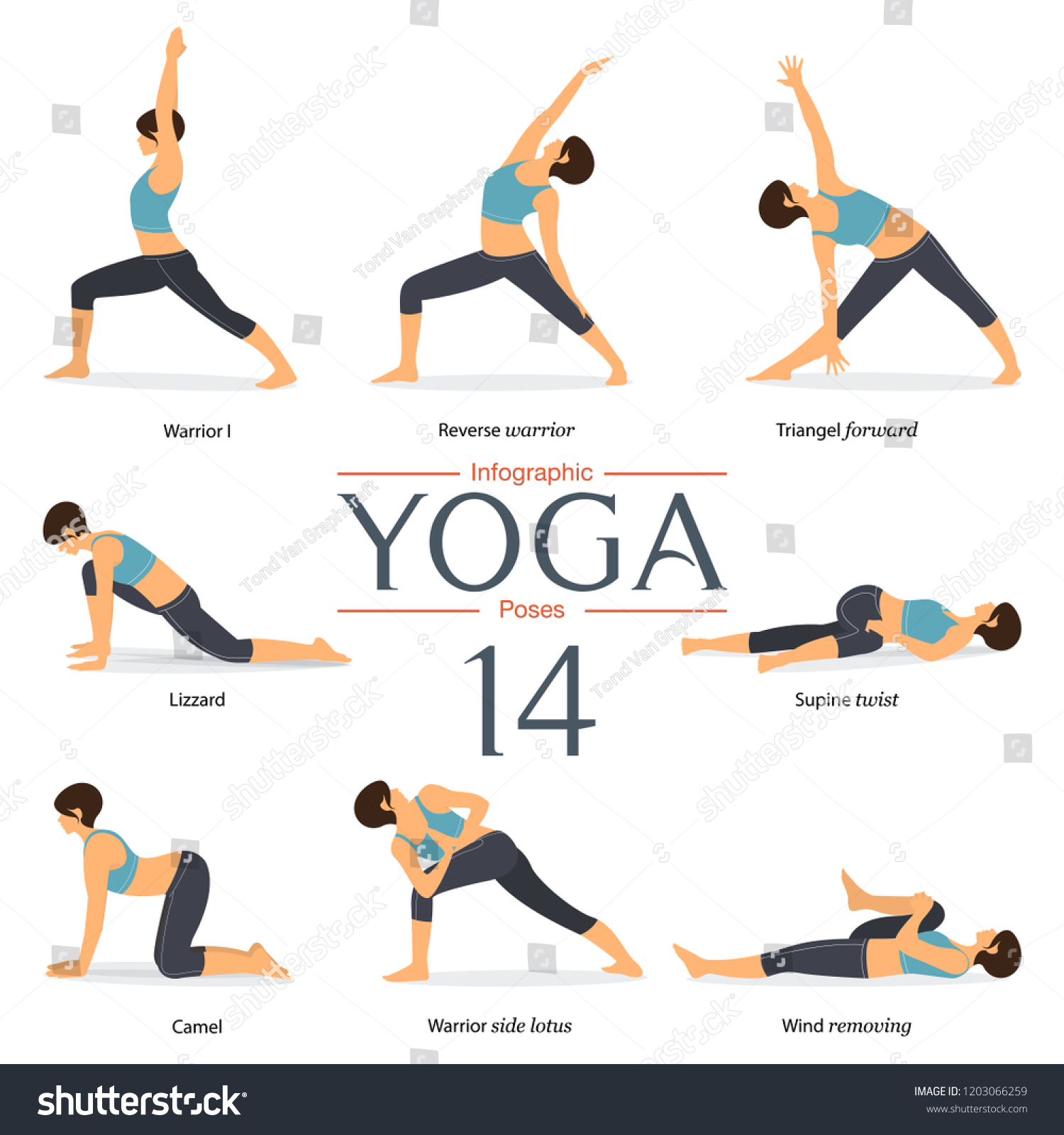 Set 37 Yoga Poses Flat Design Stock Vector (Royalty Free) 37
