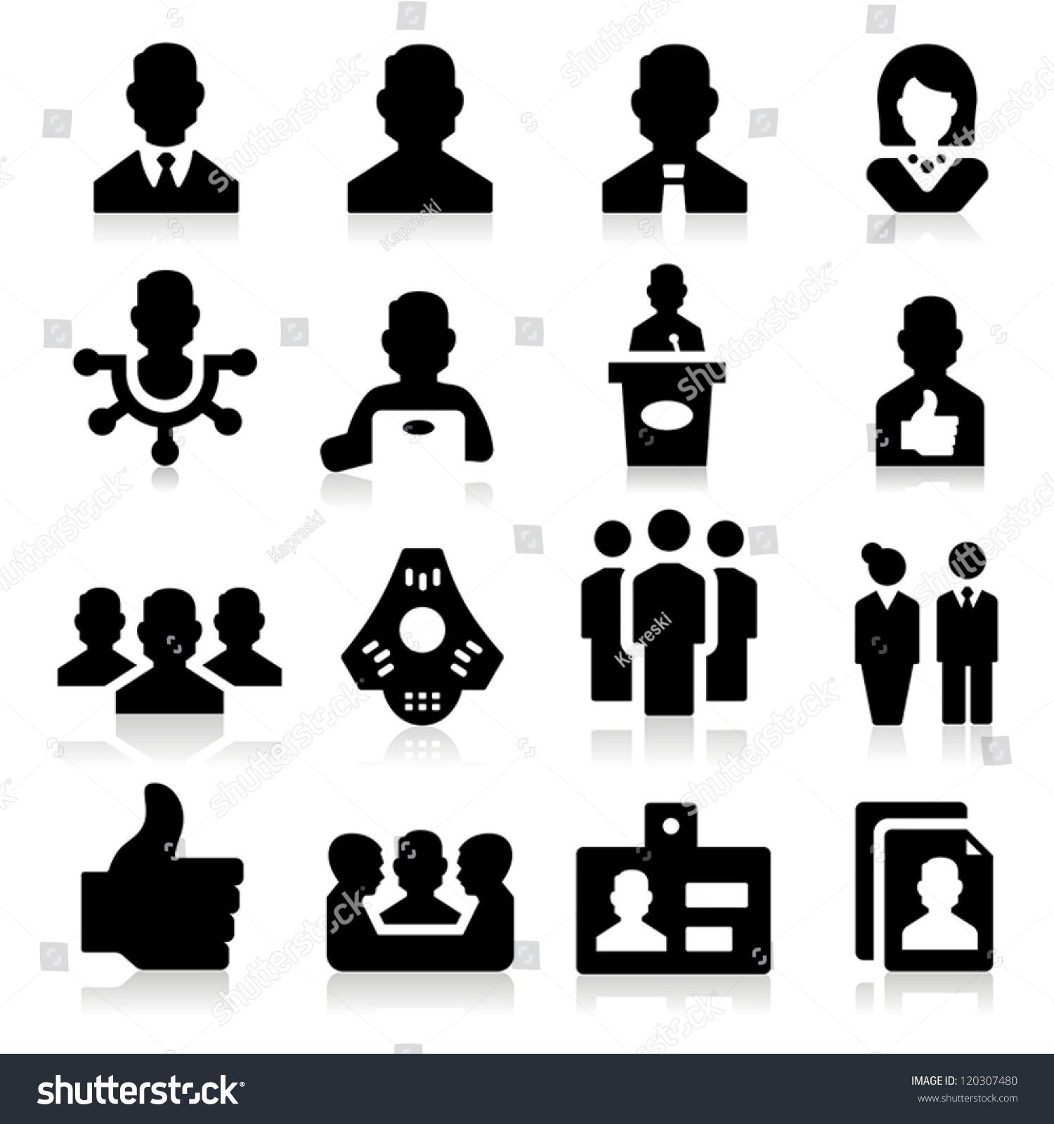 Human Resources Management Icons Stock Vector 120307480 ...