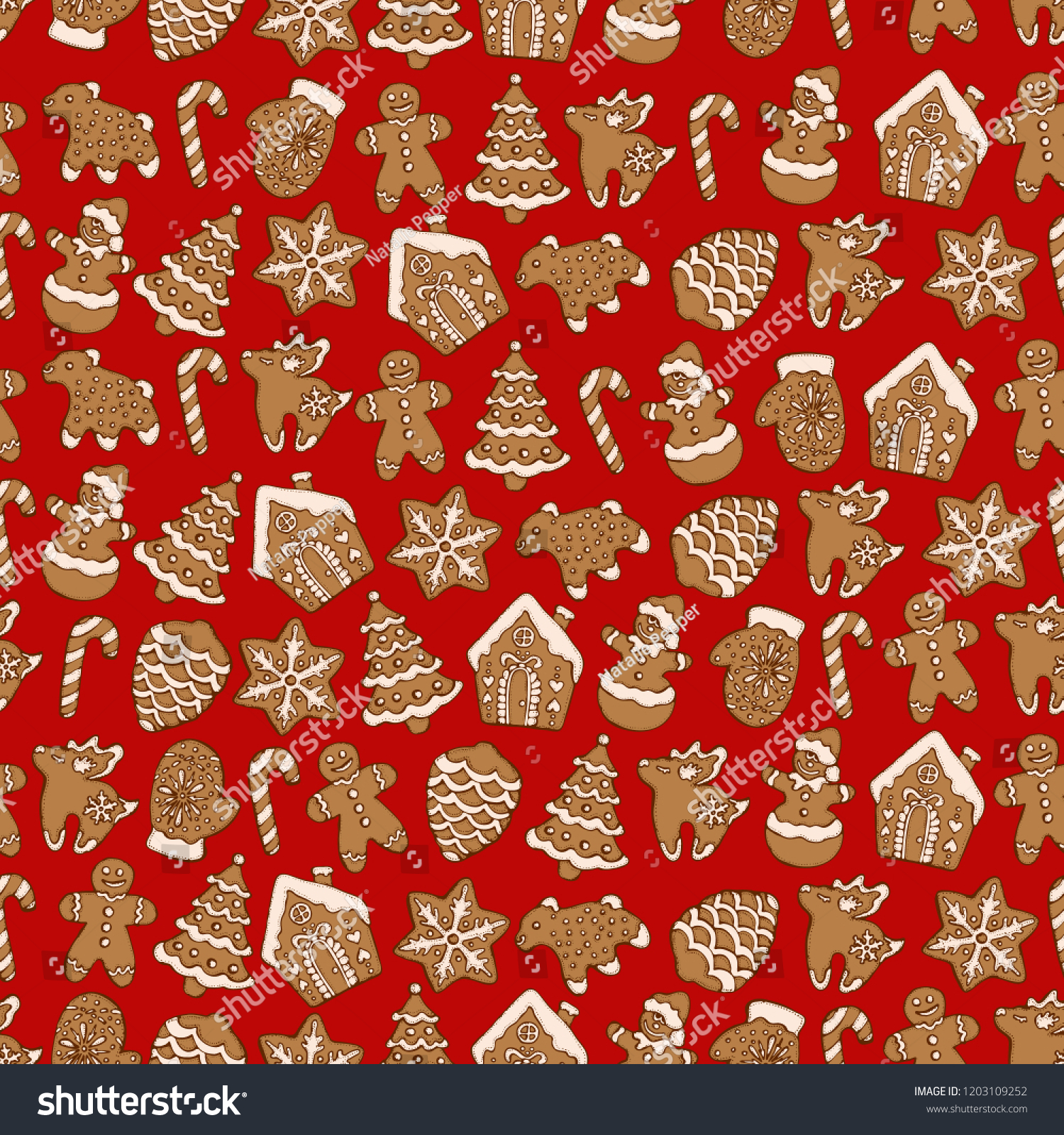 Seamless Pattern Christmas Homemade Gingerbread Cookies Stock Vector