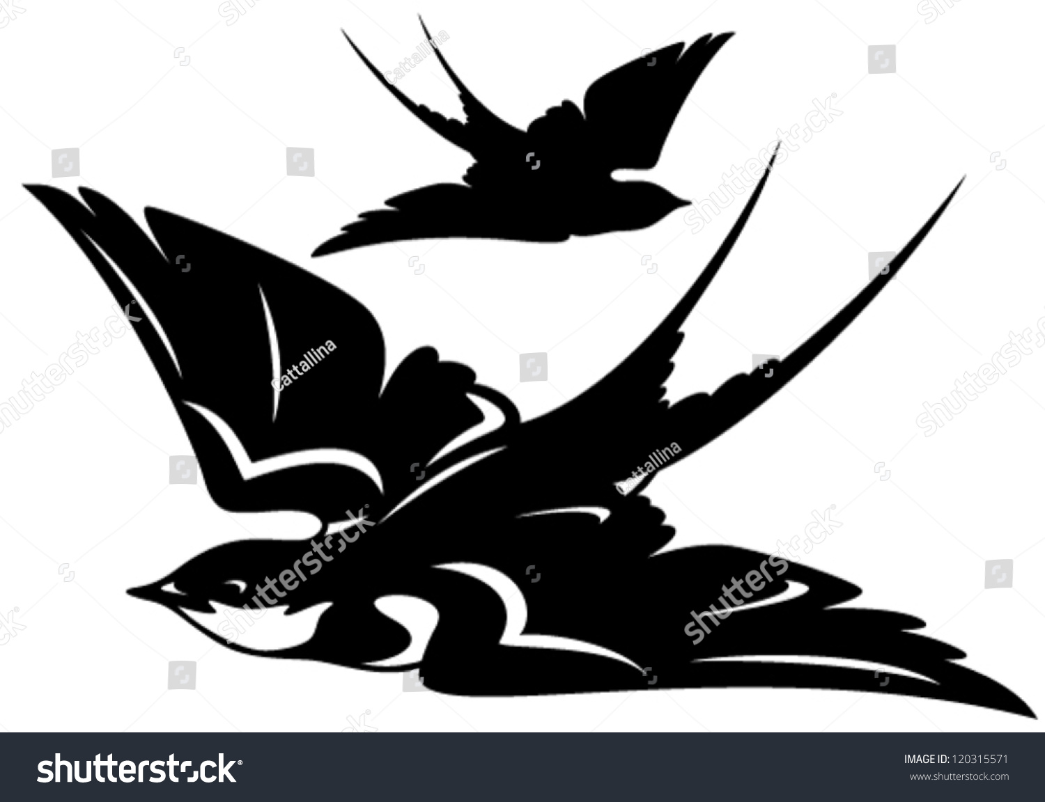 Set of sketches of flying swallows stock vector illustration - Flying Swallow Bird Vector Illustration Black And White Outline And Silhouette