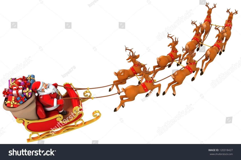Santa Claus Rides Reindeer Sleigh On Christmas Stock Photo 120318427 ...