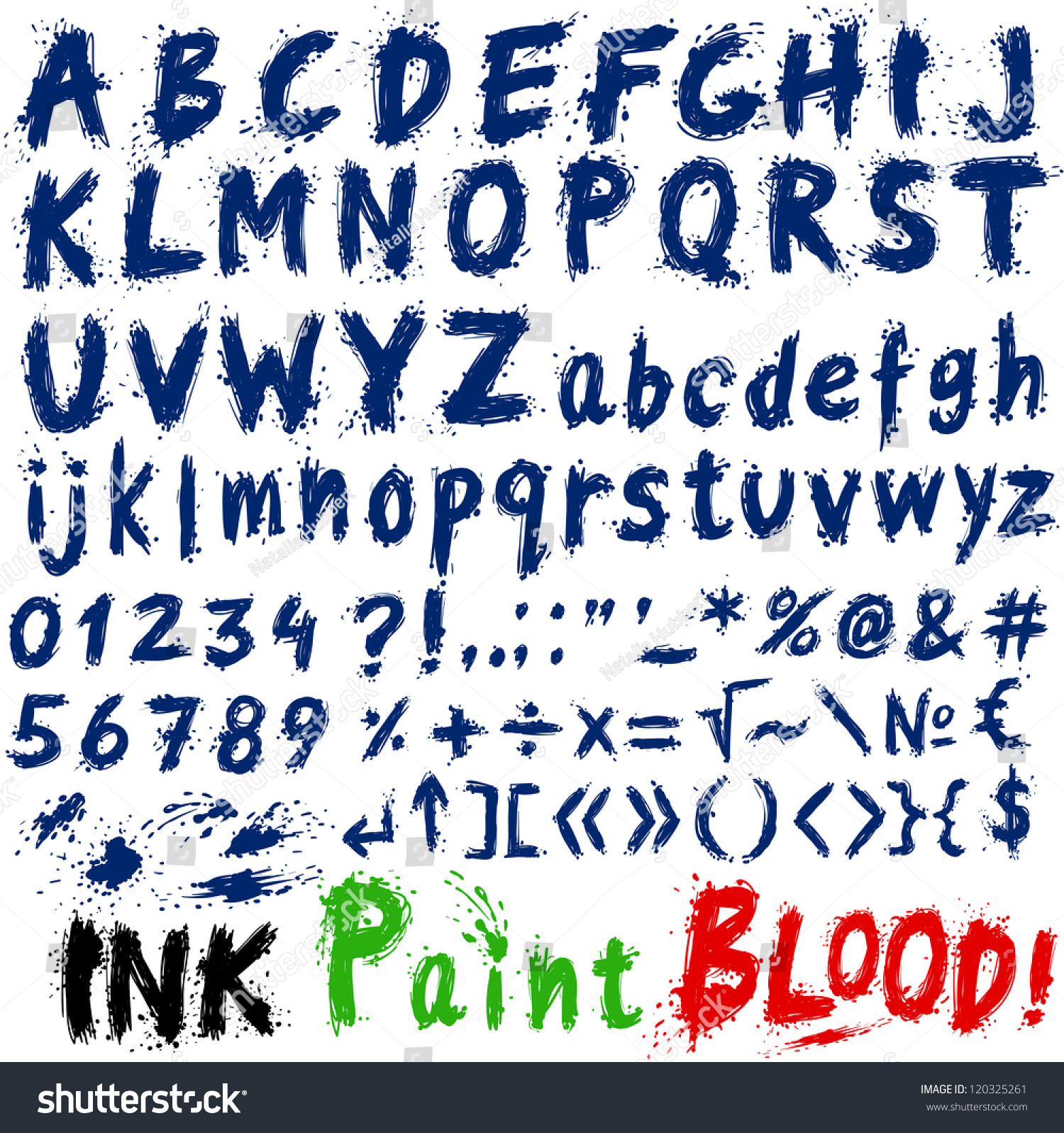 hand drawn alphabet letters and symbols ink splatter paint splash font bloody letters