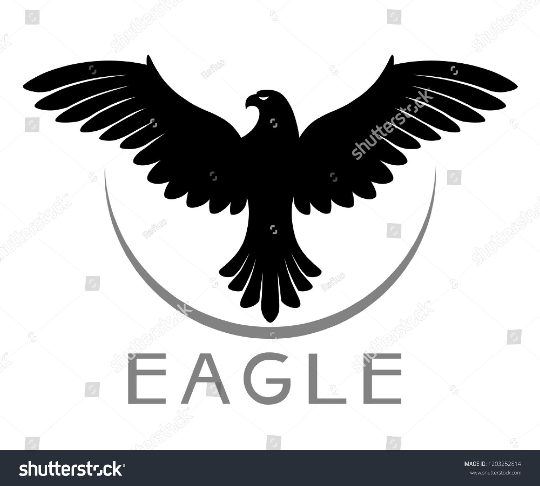 Black Vector Bird Prey Emblem On Stock Vector Royalty Free 1203252814