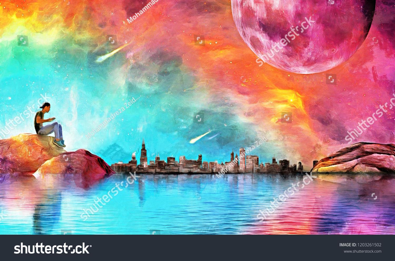 Fantasy illustration alone boy galaxy moon stock illustration