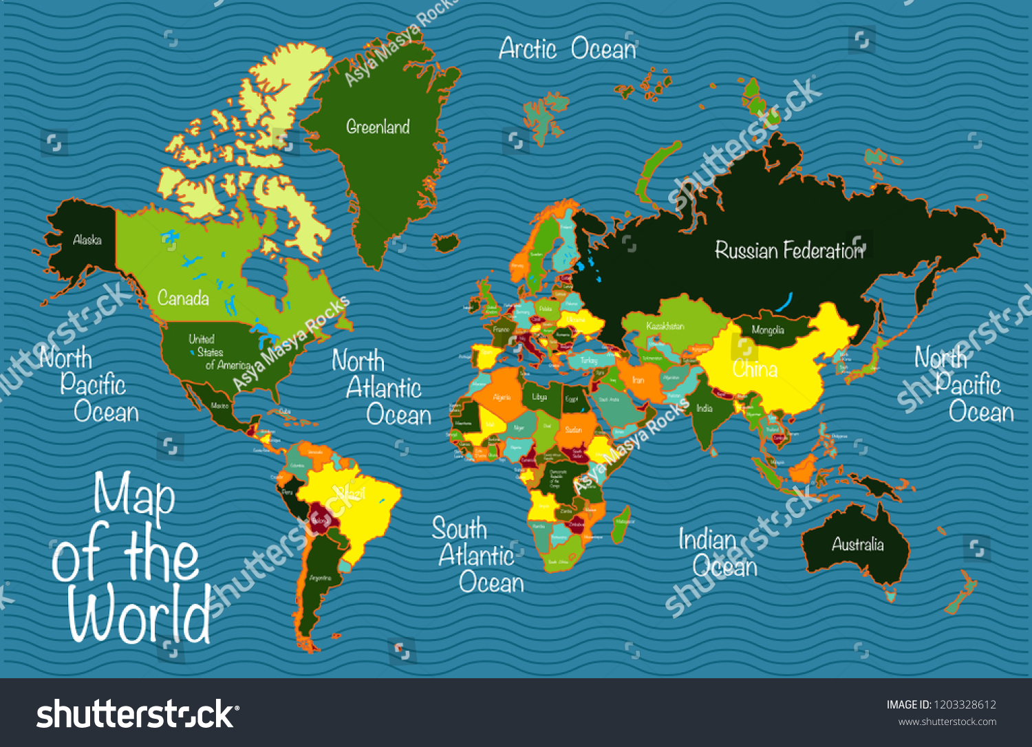 Picture of: World Map All Countries Oceans Stock Vector Royalty Free 1203328612