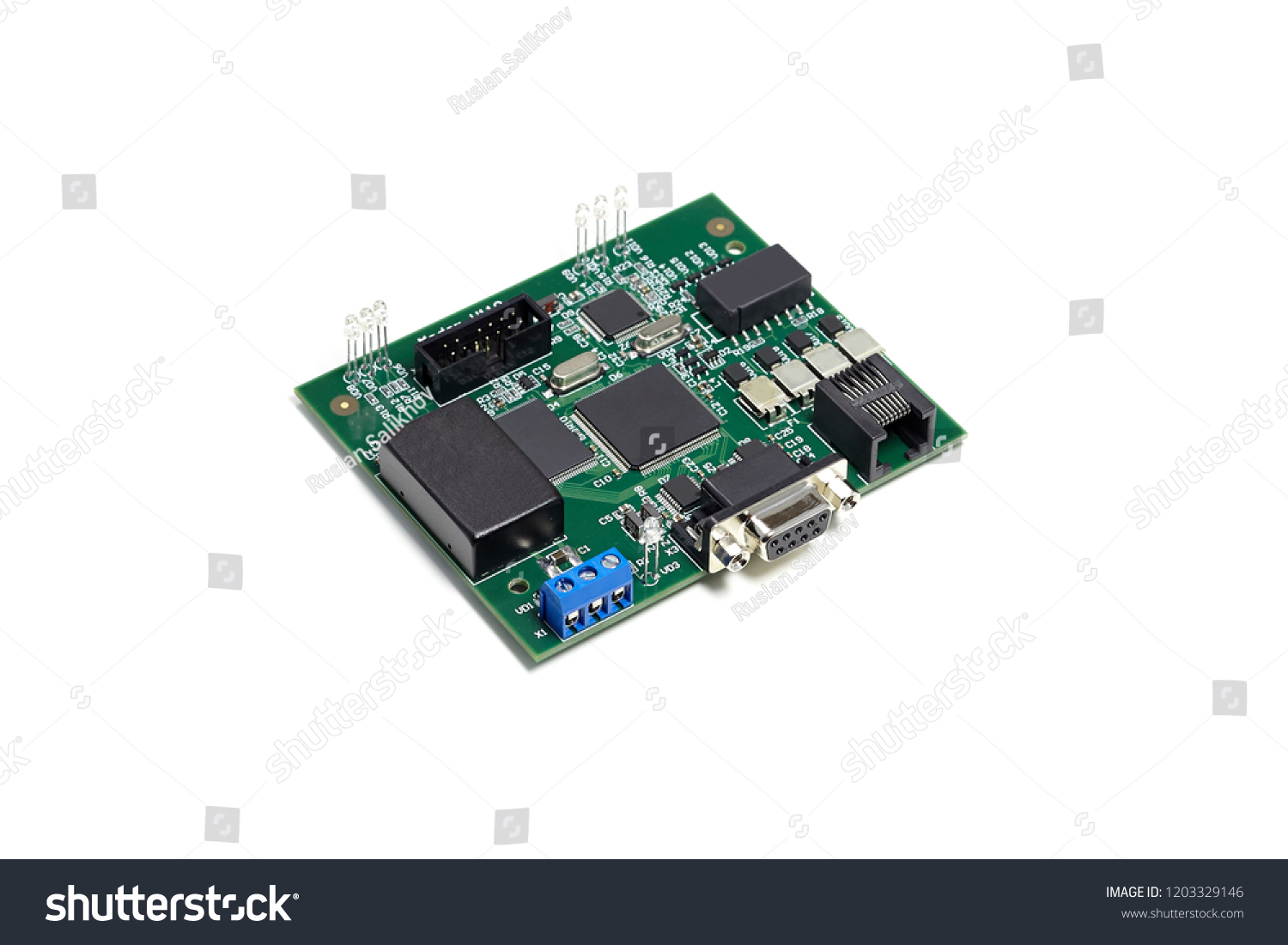 Electronic Printed Circuit Board Microchip Many Stock Photo Edit Photos Images Pictures Shutterstock With Electrical Components And Leds