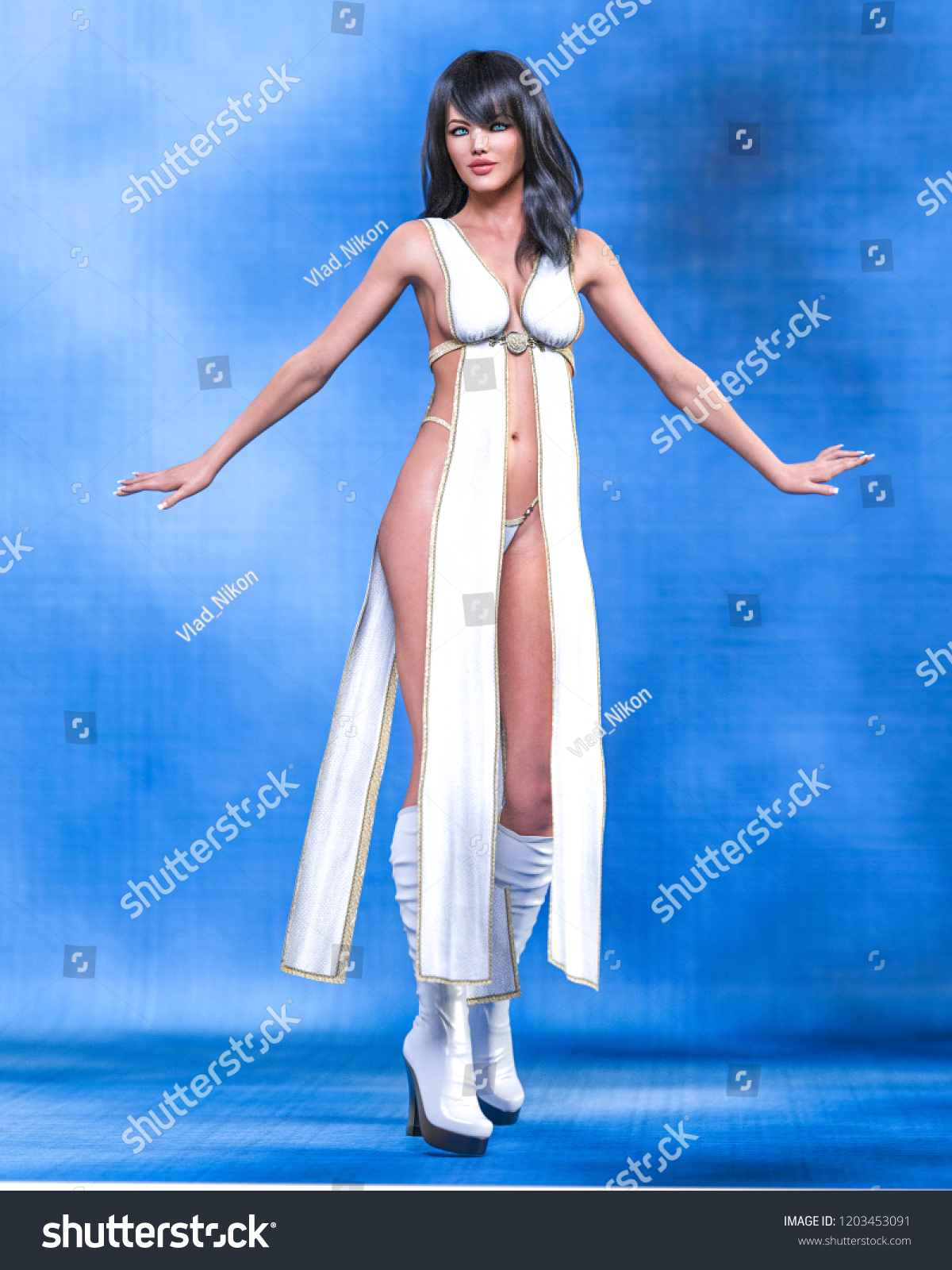Tall sexy woman in minimalist extravagant sexy dress. Conceptual fashion  art. Seductive candid pose