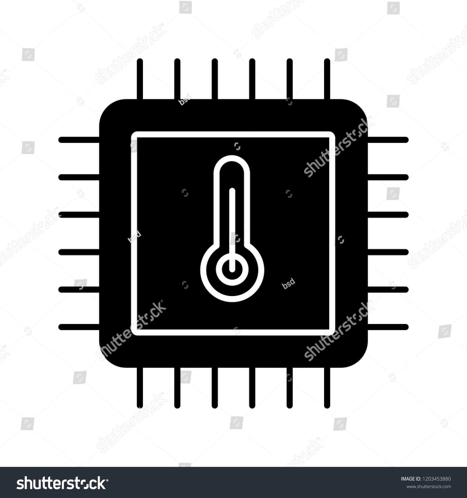 Processor Temperature Glyph Icon Core Temp Stock Vector Royalty Electronic Integrated Circuit Chip Free Image Cpu Overheating Microchip Chipset Heating