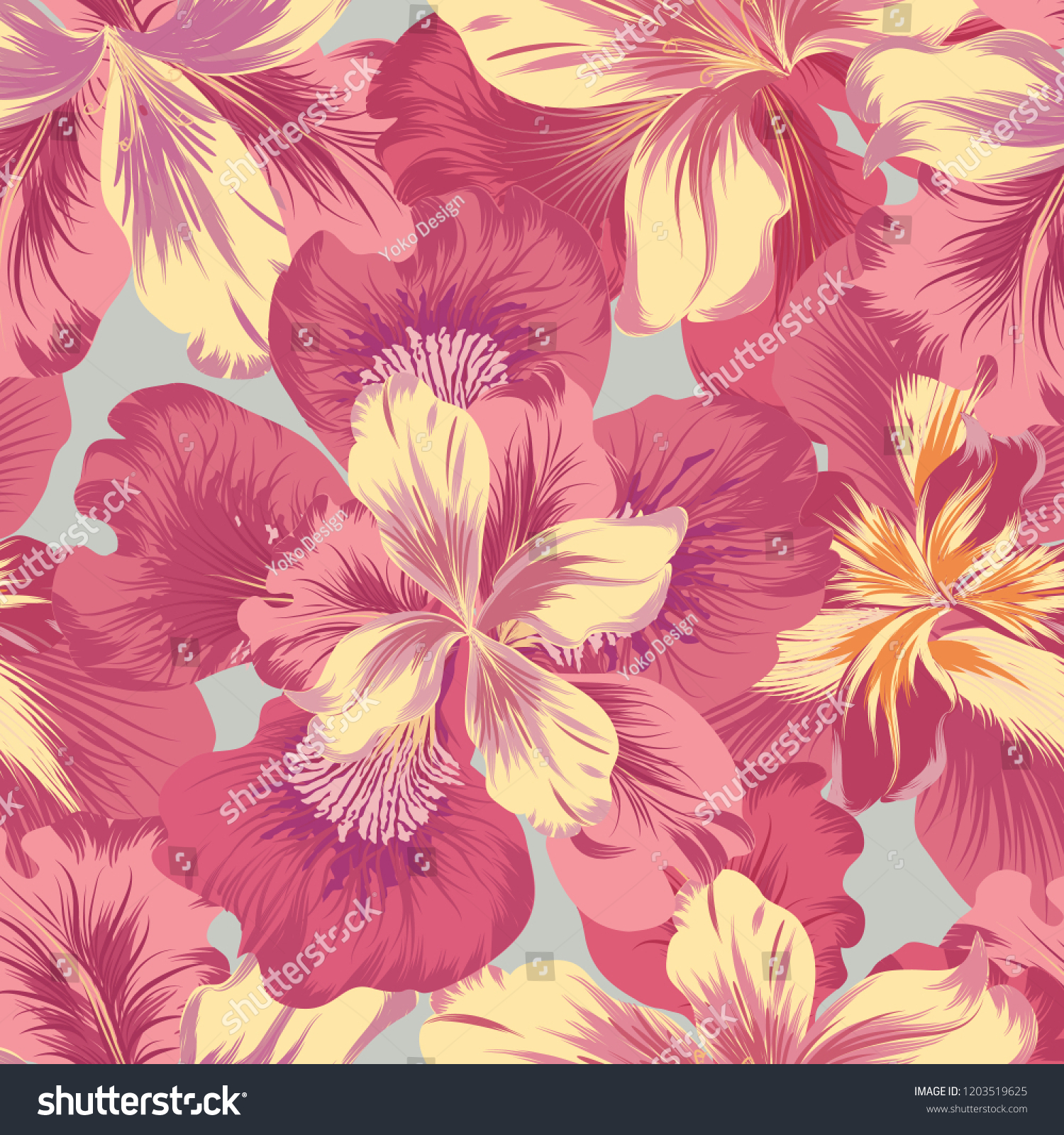 Floral Seamless Pattern Flower Background Flourish Stock Vector