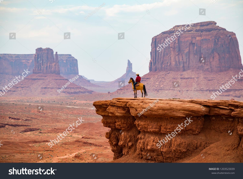 Cowboy looking at the horizon, Monument Valley Navajo Tribal Park #1203523039