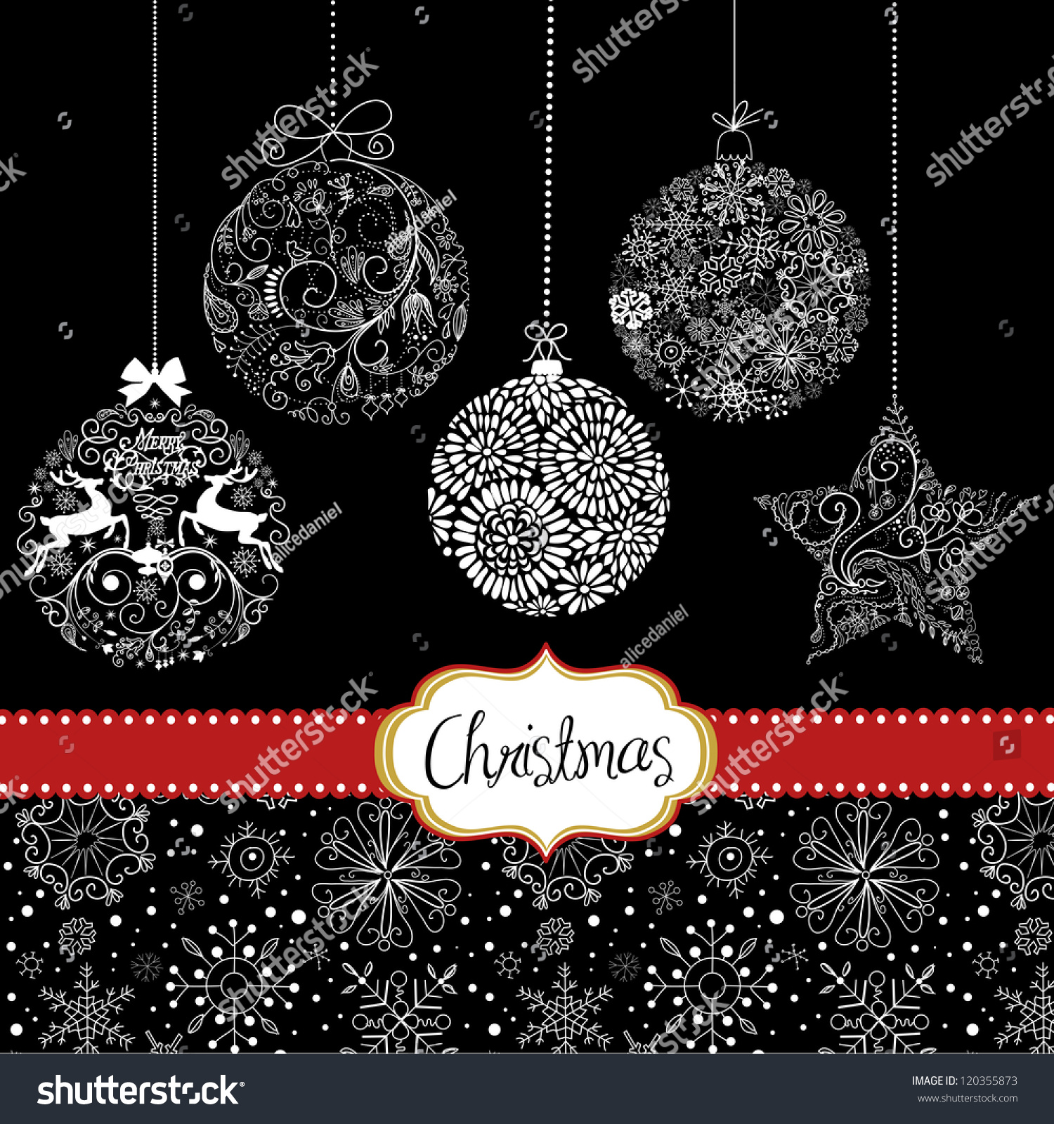 Black White Christmas Ornaments Card Template Stock Vector (2018 ...