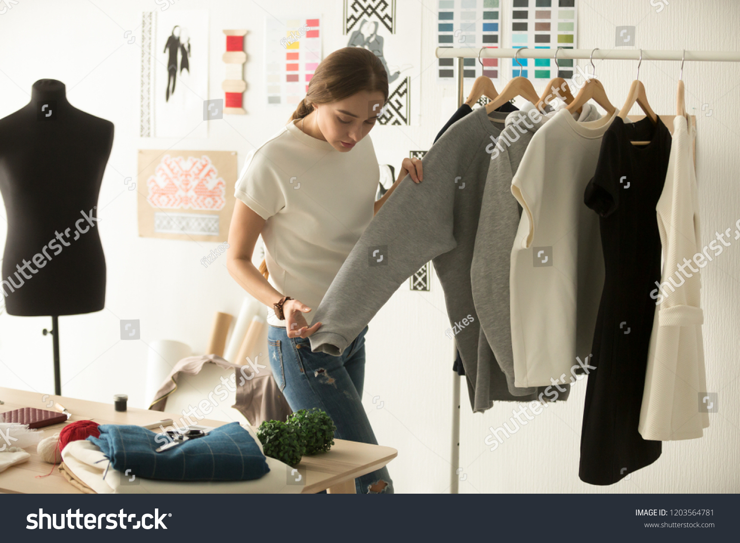 Female Clothes Designer Working New Woman Stock Photo Edit Now 1203564781