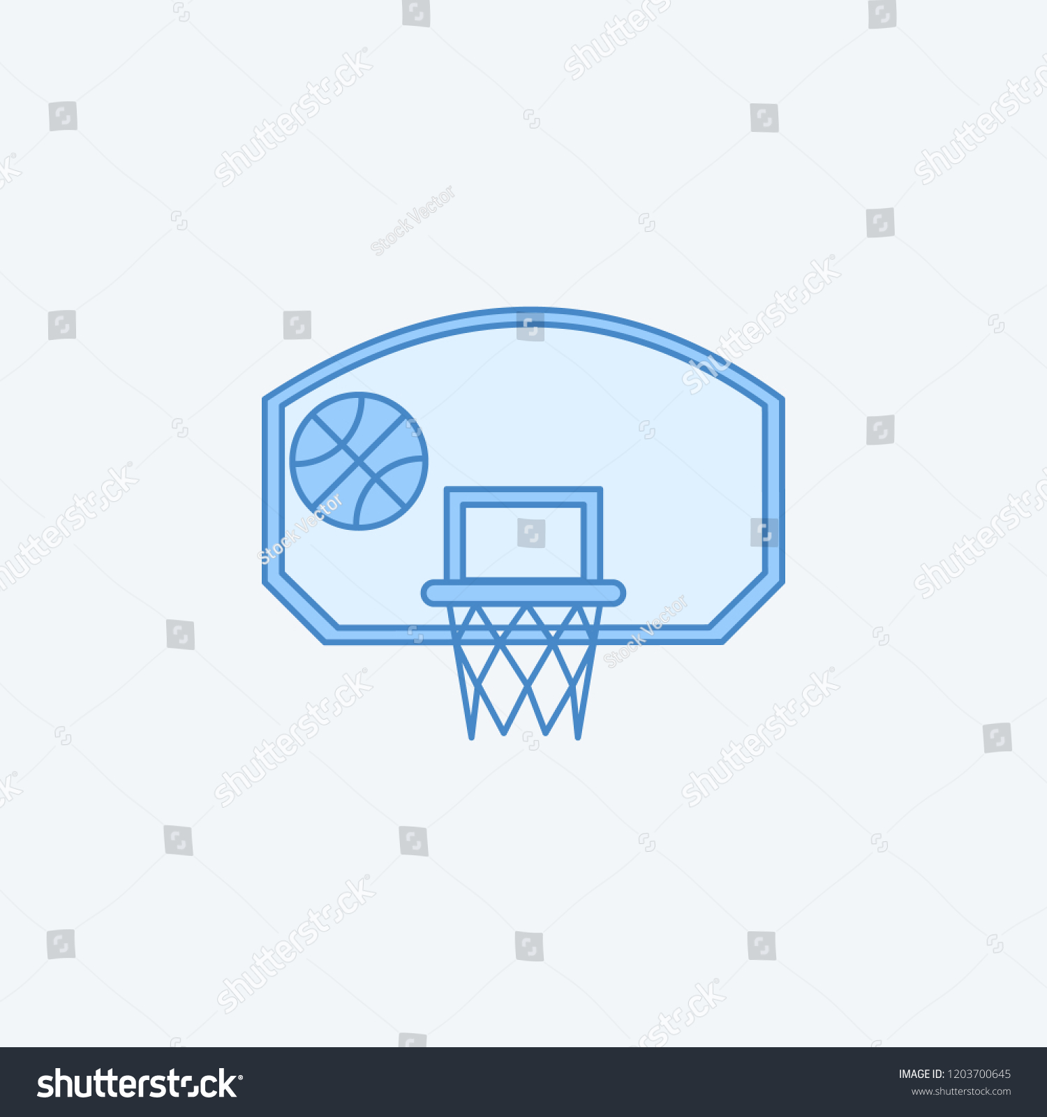Basketball Hoop Ball 2 Colored Line Stock Vector Royalty Free Diagram With Icon Simple Dark And Light Blue Element Illustration