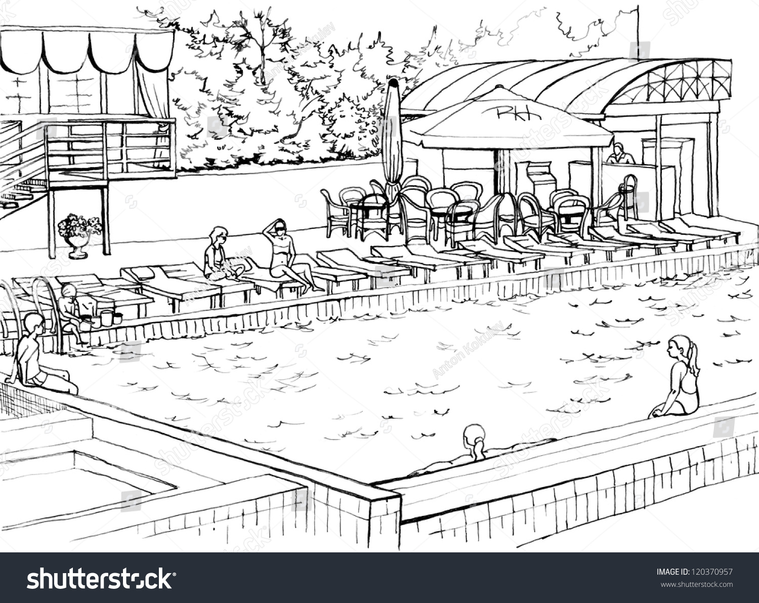 Drawing Swimming Pools : Outdoor swimming pool expensive hotel drawing stock