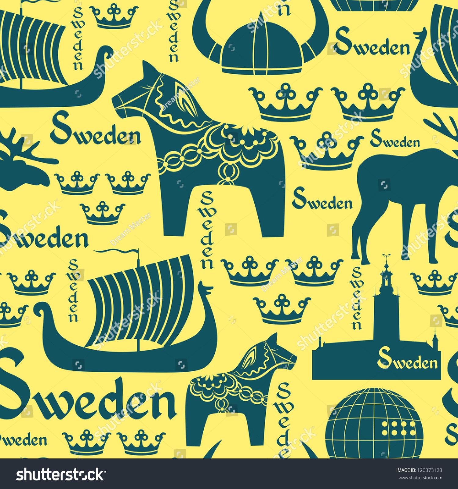 Vector Seamless Pattern National Symbols Sweden Stock Vector