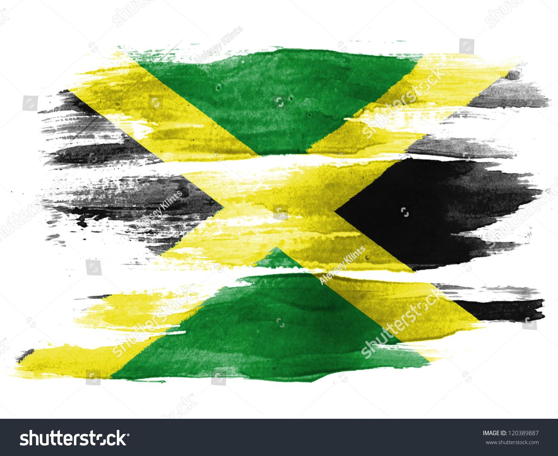Jamaica Flag Painted Brush On White Stock Illustration 129062810 ...