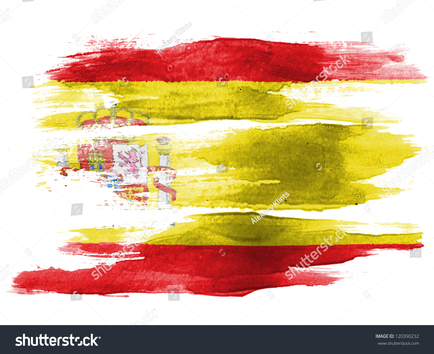 spanish flag painted on white paper stock photo 120390232