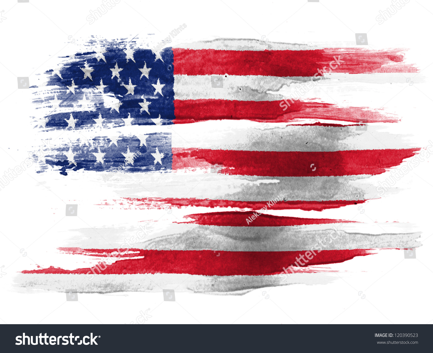 Usa Flag Painted On White Paper Stock Photo 120390523 - Shutterstock