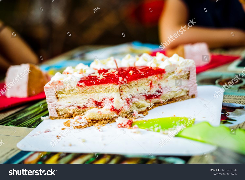 Cutting Children Birthday Cake Kid Birthday Stock Photo Edit Now