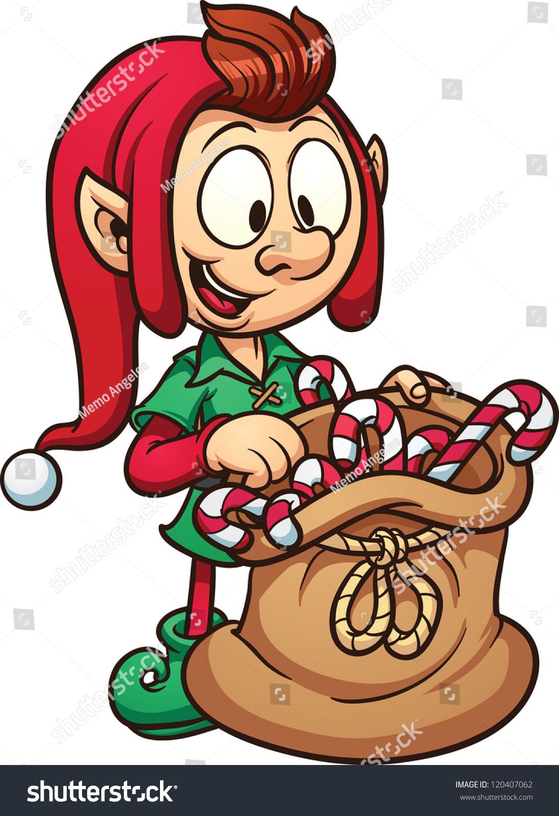 Cute Cartoon Christmas Elf Bag Candy Stock Vector ...