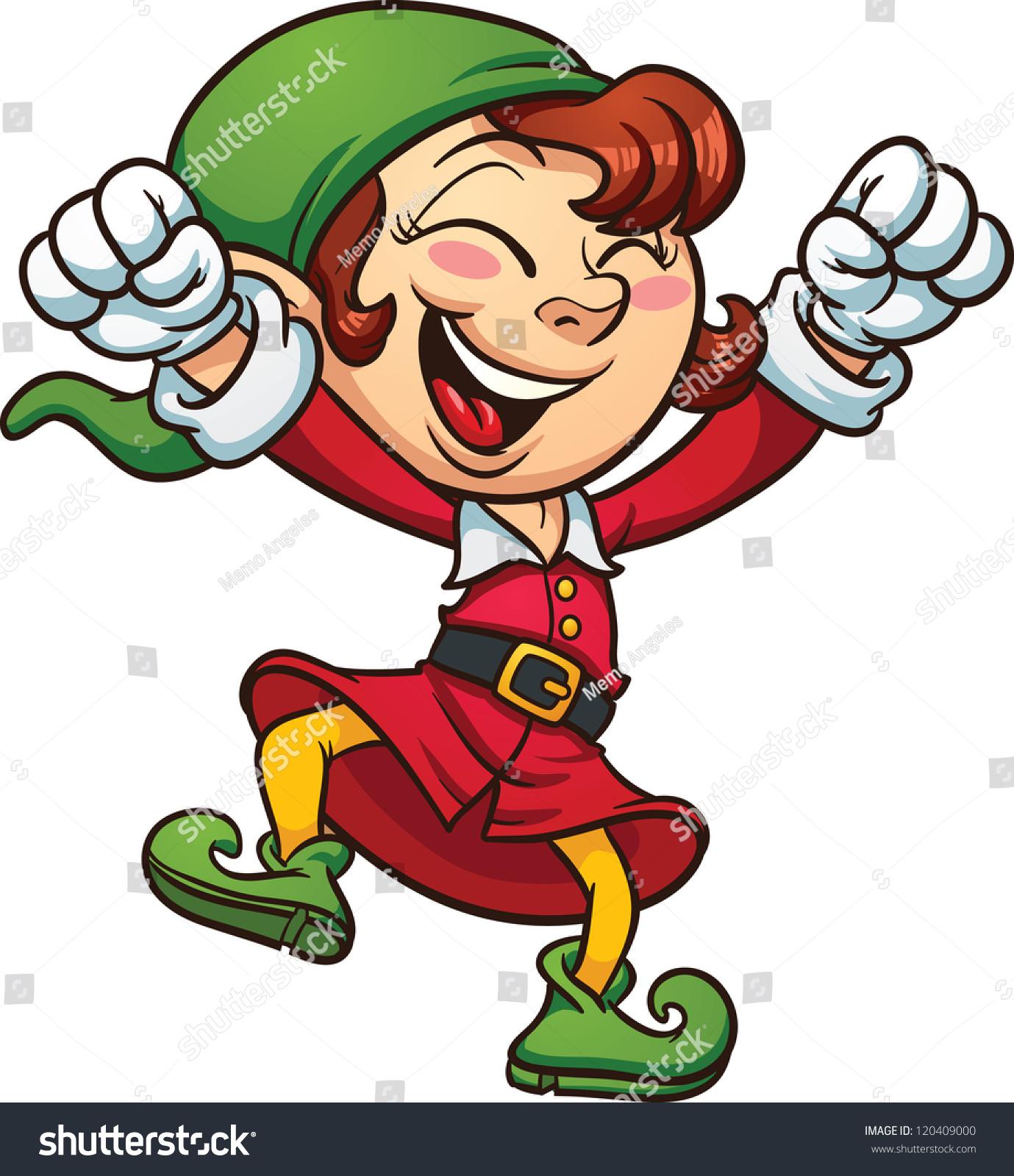 exited christmas elf dancing vector clip stock vector 120409000