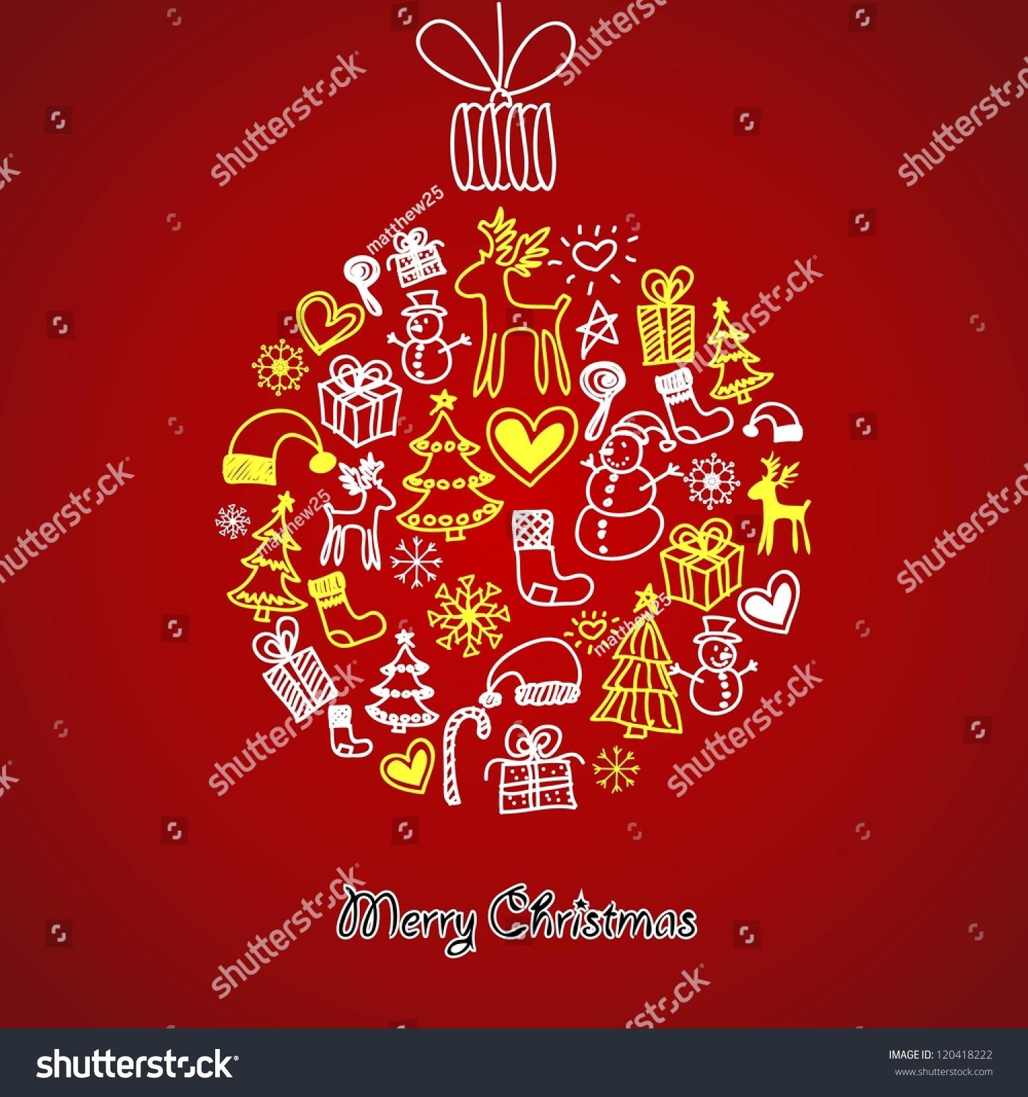 Christmas balls paintings on greeting holiday stock vector 120418222 the paintings on greeting for the holiday season kristyandbryce Images