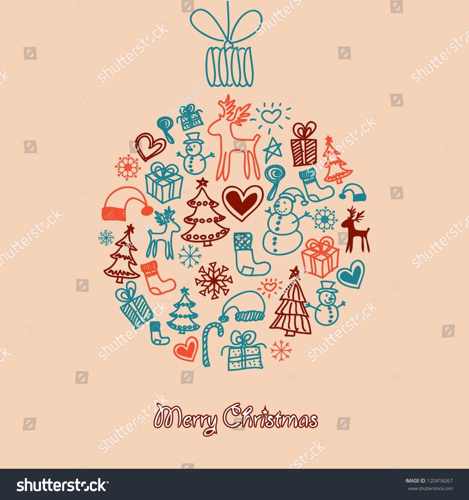 Christmas balls paintings on greeting holiday stock vector 120418267 the paintings on greeting for the holiday season kristyandbryce Images
