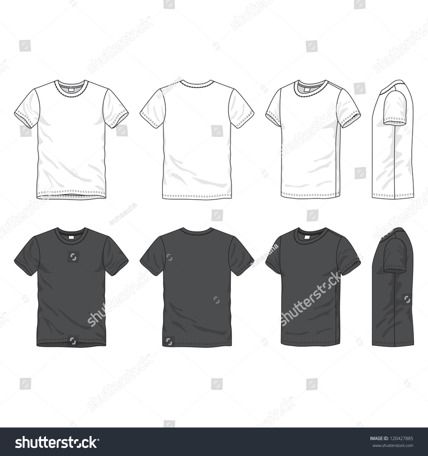 Blank T Shirts Cheap Stock Vector Front Back And Side Views Of