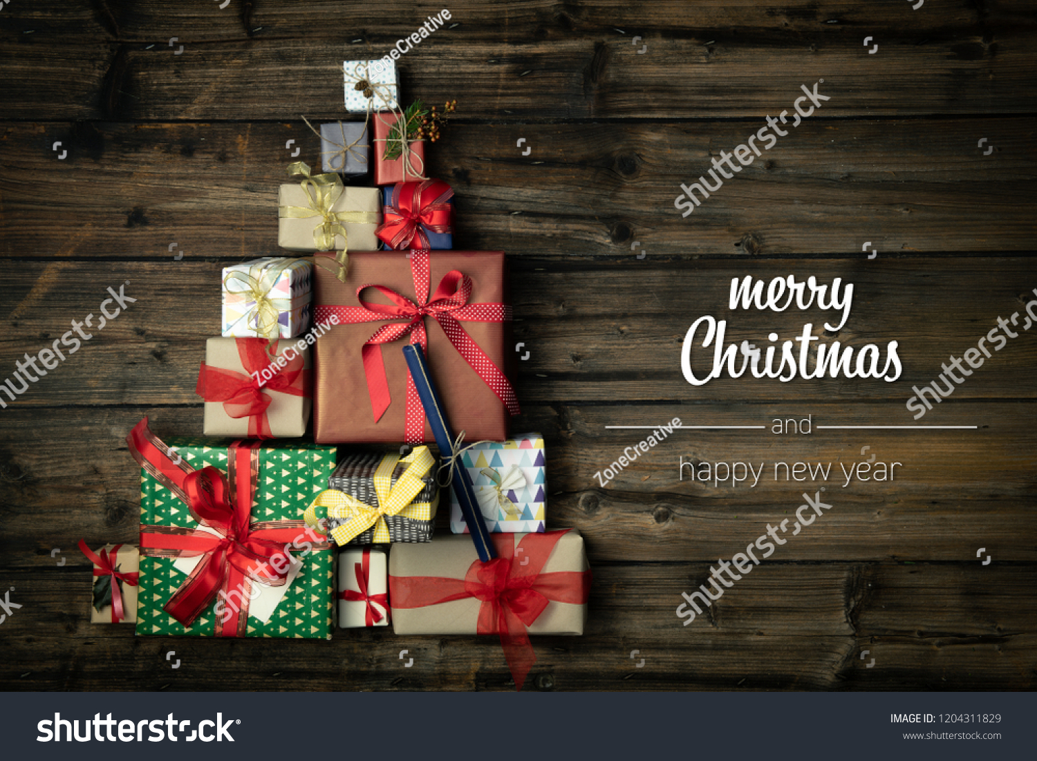 merry christmas and happy new year greetings in vertical top view dark vintage wood with christmas