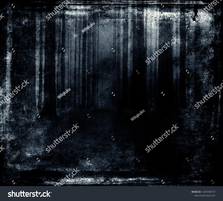 Halloween Spooky Wallpaper.Scary Blue Forest Wallpaper Halloween Spooky Stock Photo