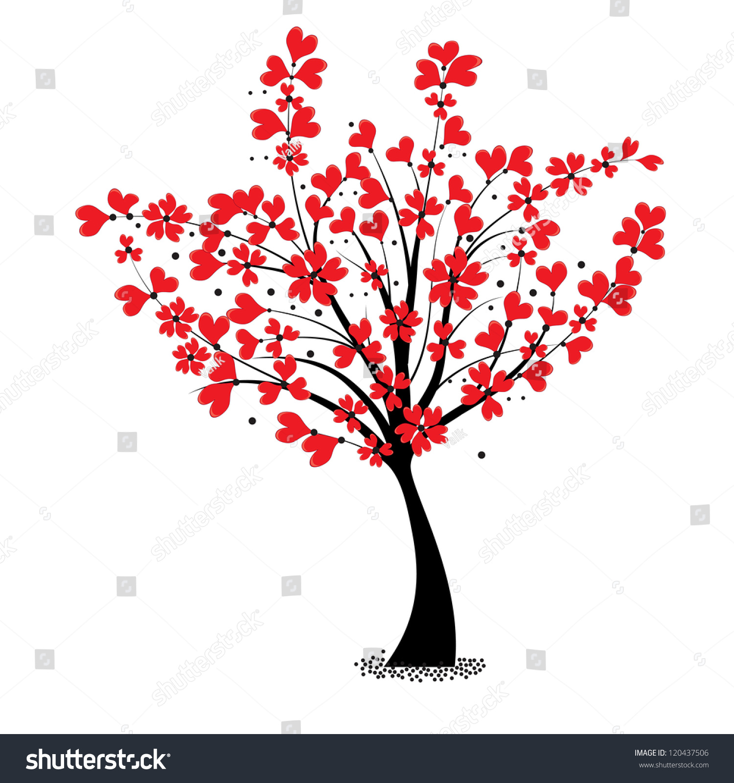 Wedding Tree Vector: Valentine Tree Vector Flower Shaped Heart Stock Vector