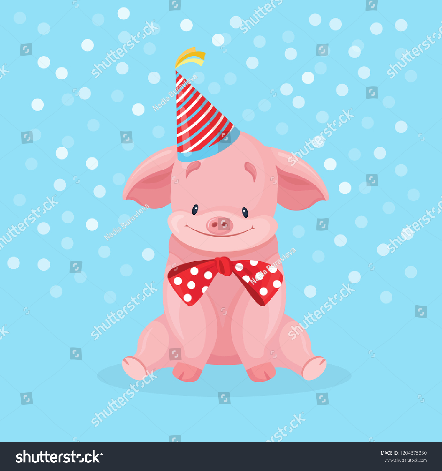 Cute Pink Pig Party Hat Isolated Stock Vector Royalty Free