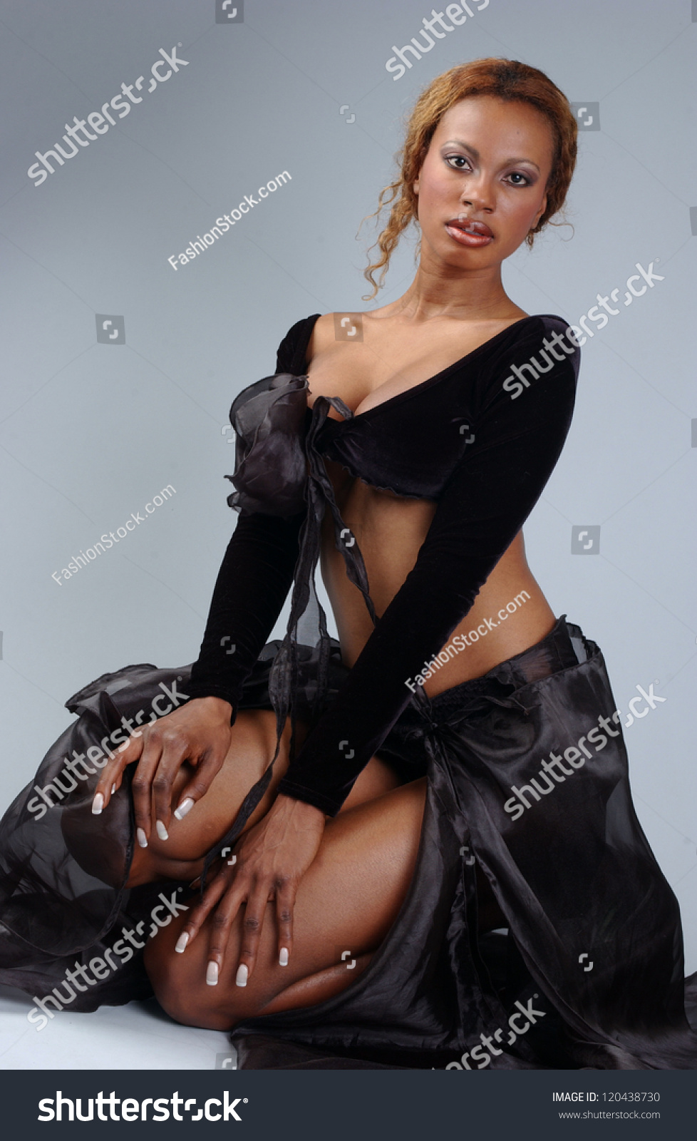 fabbb74b5e5 Beautiful African American Model Posing Wearing Stock Photo (Edit ...