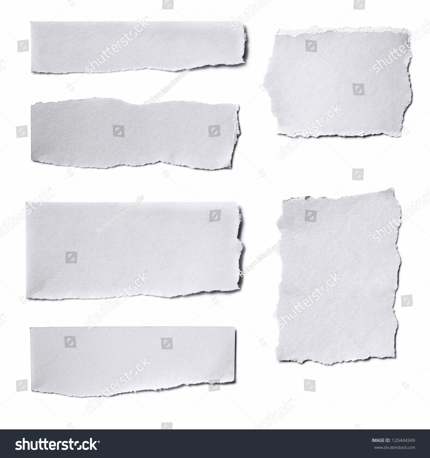 Collection of white paper tears, isolated on white with soft shadows. #120444349