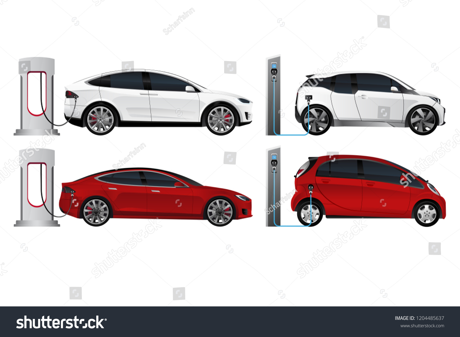 Set Electric Cars New Energy Vehicles Stock Vector Royalty Free