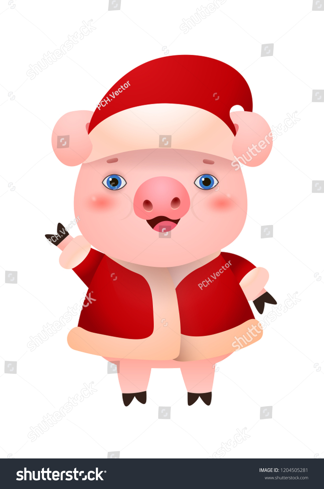 Pig Waving Hand Wearing Hat Winter Stock Vector (Royalty Free ...
