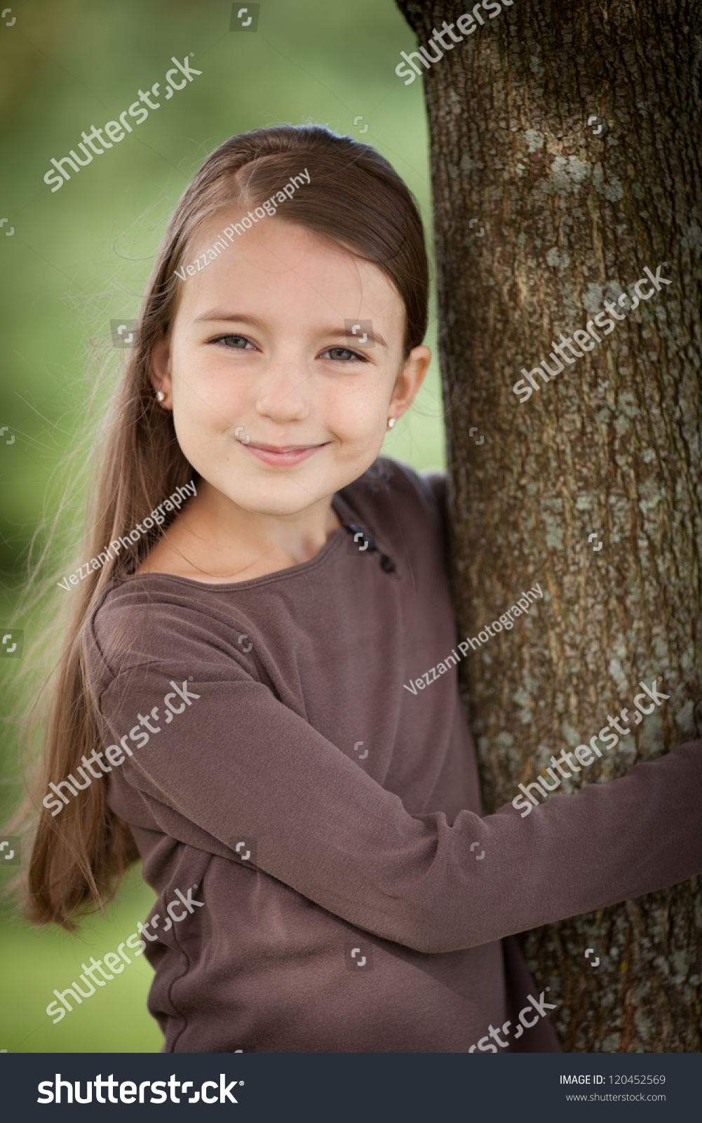 beautiful young caucasian girl brown hair stock photo