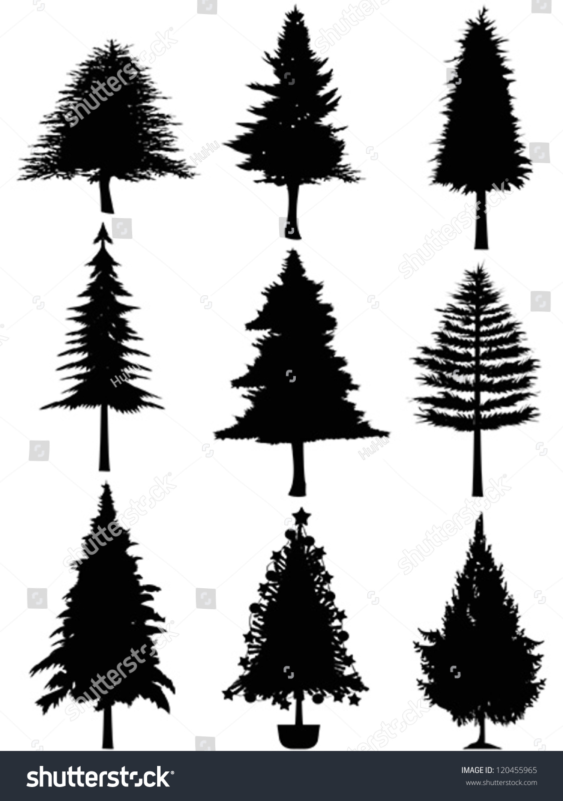 Pine Tree Outline Vector pine tree stock vectors & vector clip art ...