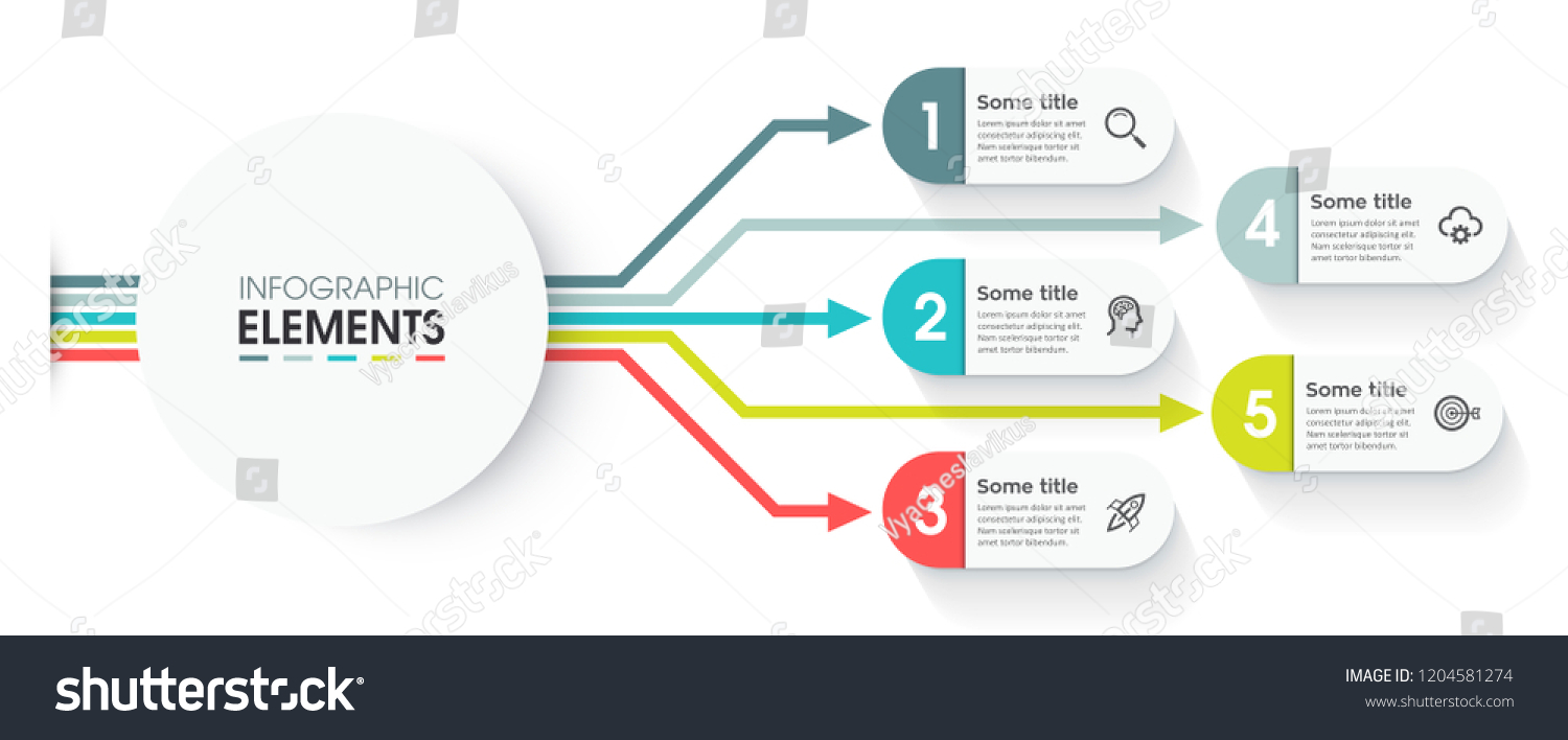 Abstract Infographic Design Template Icons 5 Stock Vector Royalty Process Flow Diagram Presentation With And Options Or Steps Business Concept Can